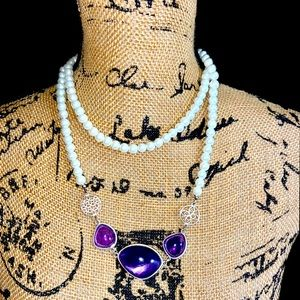 Pearls & Purple Long or layered Necklace